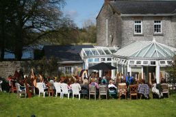 Harps in the Irish Harp Centre garden